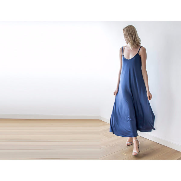 Blue Maxi Dress, Thin Straps
