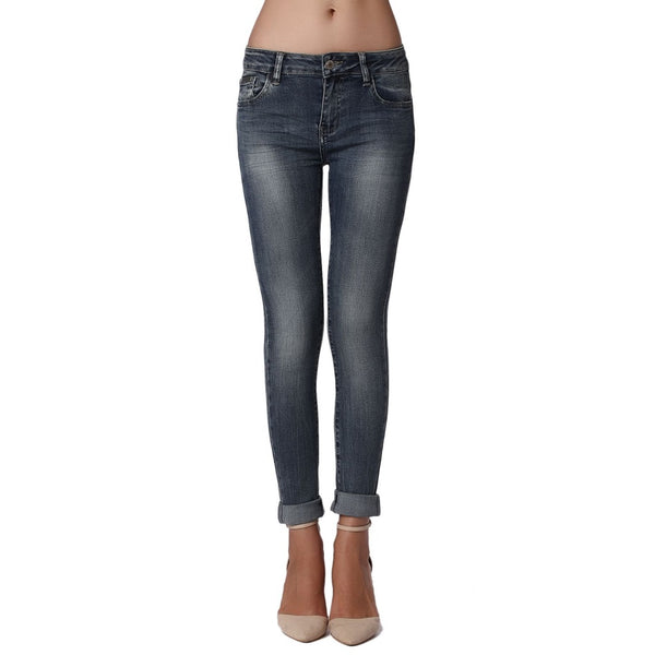 Mid Rise Skinny Denim, Dark Stonewash - fifthandmaple