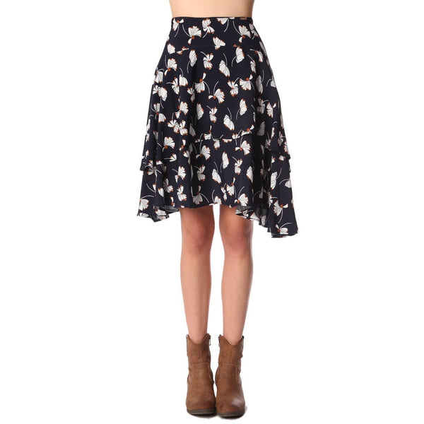 Double Layer Midi Skirt, Royal Blue Floral - fifthandmaple