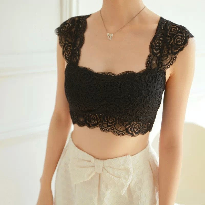 Crop Top - Padded Lace Crop Top
