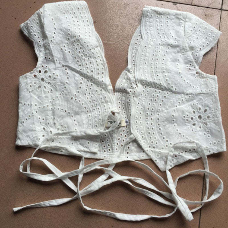 Crop Top - Tie-Up Lace Top