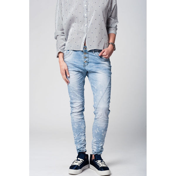 Denim Boyfriend Jeans, Light Wash - fifthandmaple