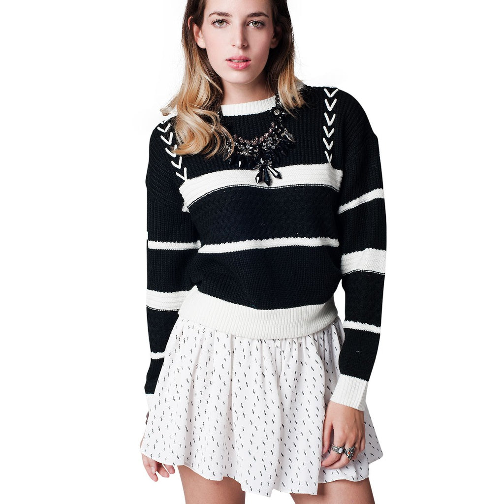 Black Striped Cable Knit Sweater - fifthandmaple
