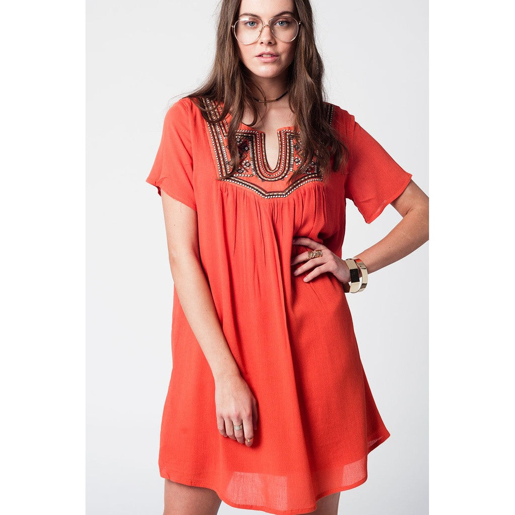 Mid-Leg Orange Embroidery Dress