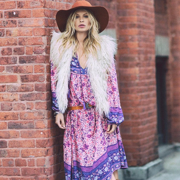 Dress - Puff Sleeve Boho Maxi Dress