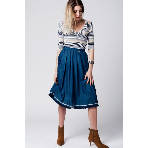 Fringe Midi Skirt, Denim - fifthandmaple