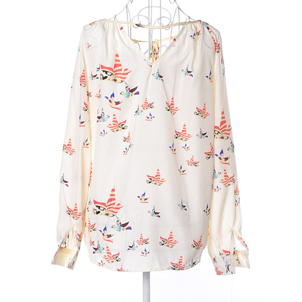 Pigeon Print V-Neck Blouse - fifthandmaple