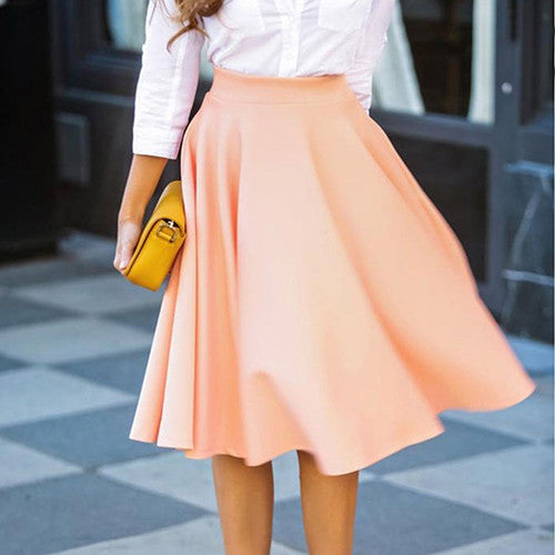 High Waist Pleated Midi Skirt - fifthandmaple