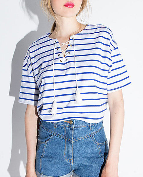 Lace Neck Striped Tee - fifthandmaple