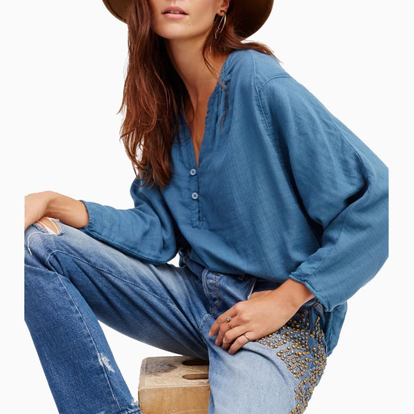 Blue Fall Blouse
