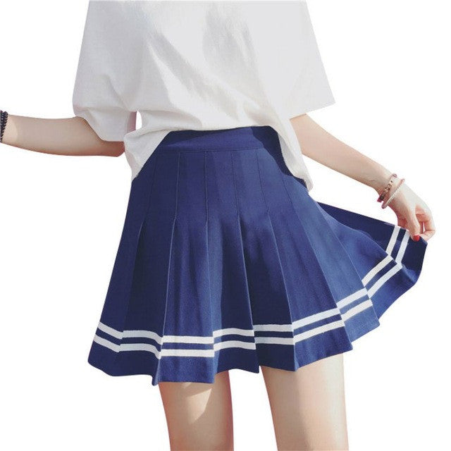 Pleated High Waist Skirt - fifthandmaple