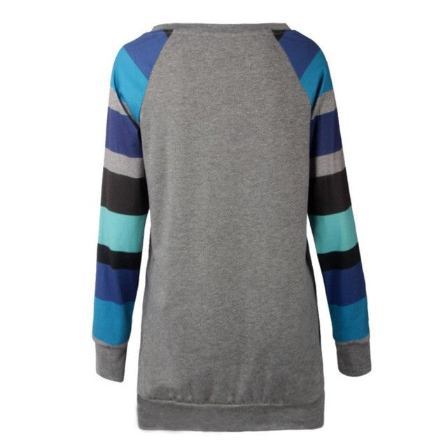 Striped Sleeve Pullover - fifthandmaple