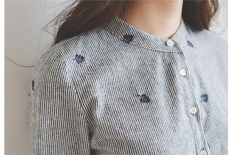 Autumn Leaves Embroidery Blouse - fifthandmaple