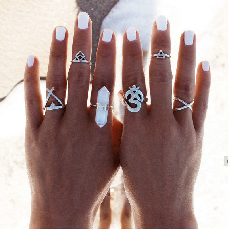 Vintage Bohemian 6pc Ring Set - fifthandmaple