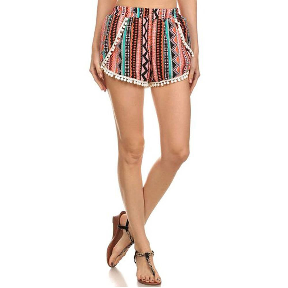 Shorts - Boho Pattern High Waist Short