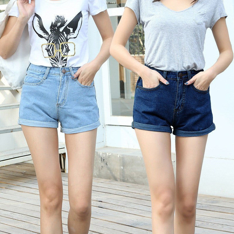 Shorts - High Waisted Denim Shorts
