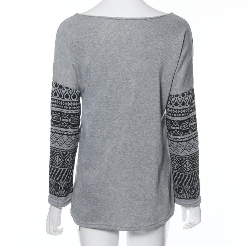 Sweater - Casual Sleeve Print Pullover Sweater