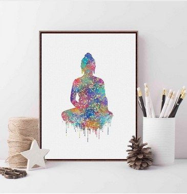 Watercolor Buddha Print