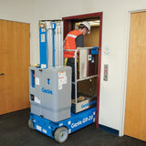 Genie GR20 vertical man lift doorway