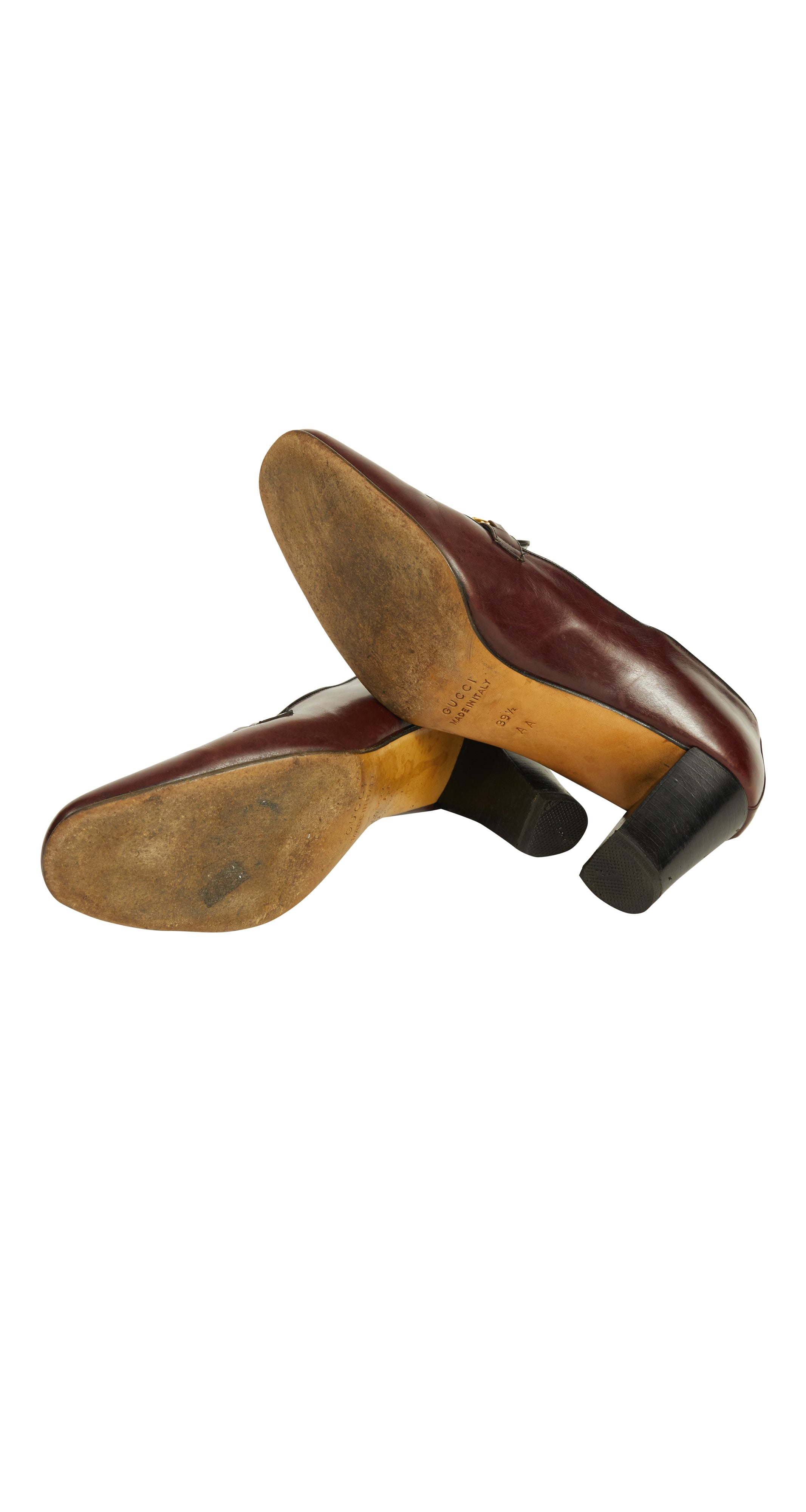 1970s Burgundy Leather Horsebit Loafer Heels