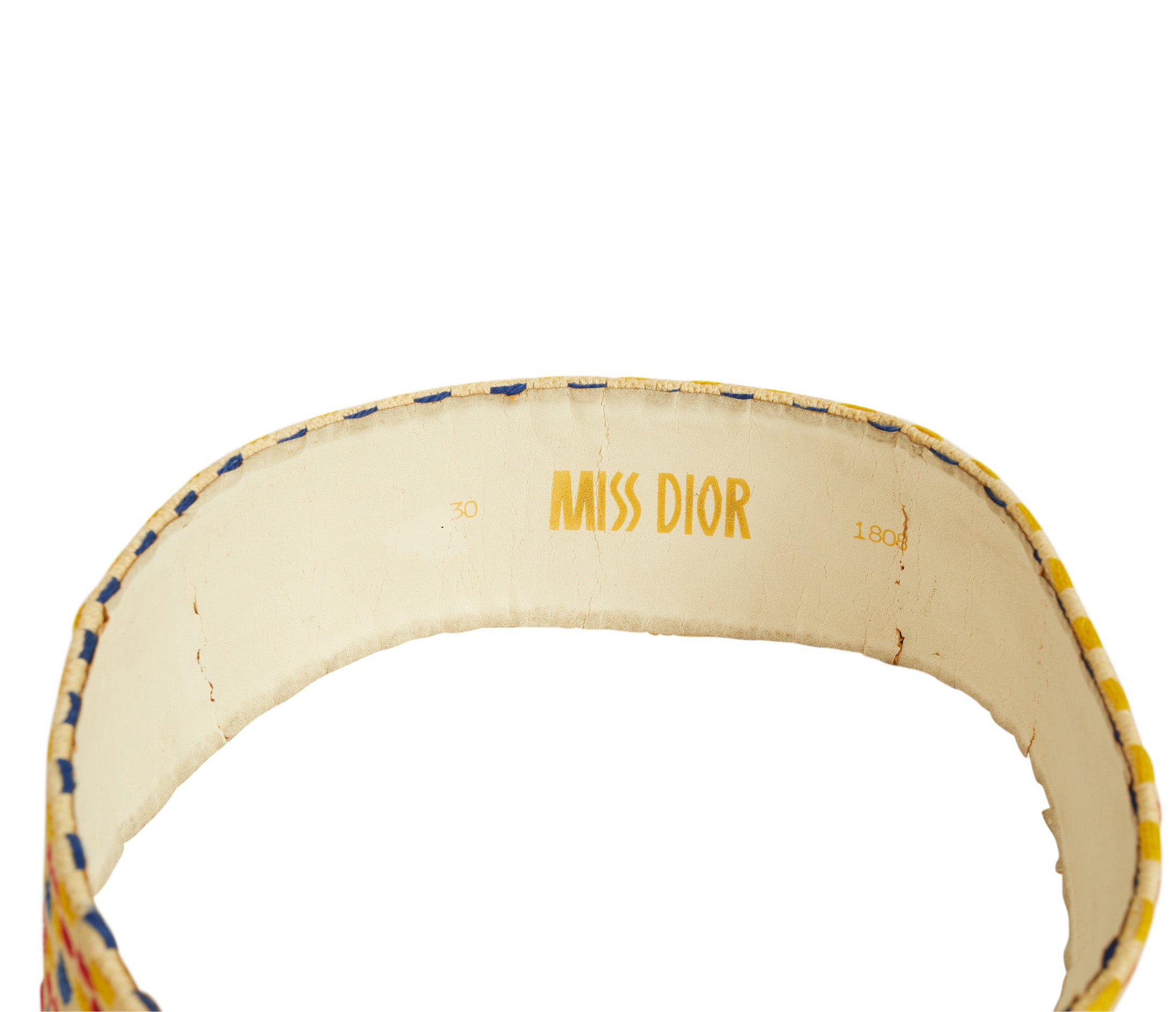 c. 1970 Miss Dior Mod Wide Fabric & Leather Belt