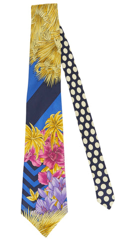 1980s Floral & Polka-Dot Silk Men's Neck Tie