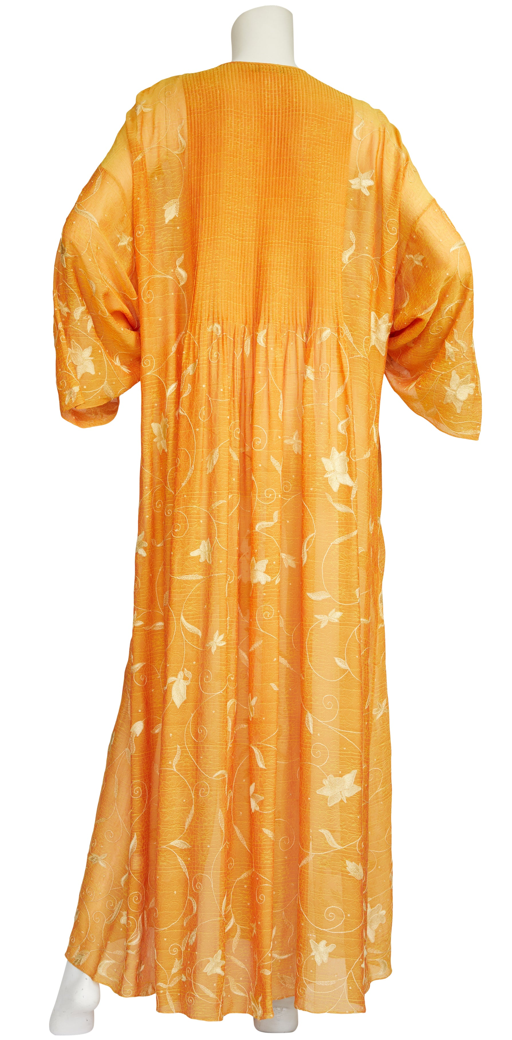 1970s Embroidered Orange Chiffon Caftan