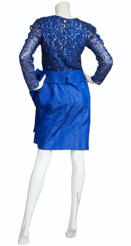 1980s Blue Sequin & Silk Taffeta Bow Cocktail Dress