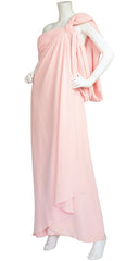 1980s Pink Silk Draped Jersey Goddess Gown