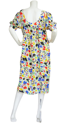 1970s Raffaella Curiel Floral Abstract Silk Dress