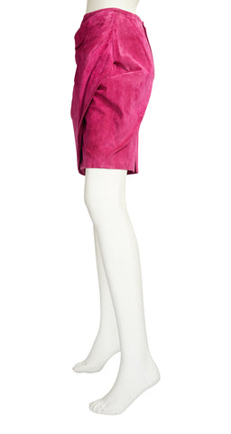 1980s Hot Pink Ruched Suede Mini Skirt