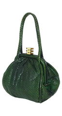 1930s Art Deco Hexagon Clasp Green Snakeskin Handbag