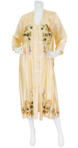 Art Deco Stunning Hand Embroidered Floral Peach Silk Robe
