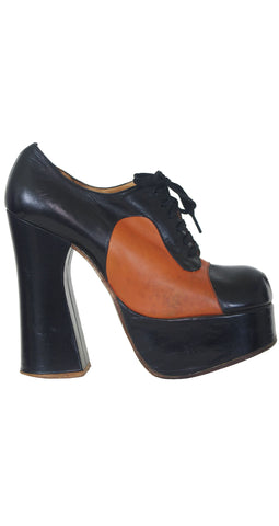 1970s Black & Brown Monster Platform Shoes