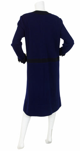 1980's Navy & Black Wool Knit Dress