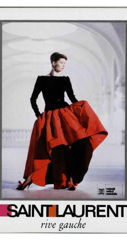 1988 Ad Campaign Black Silk Velvet & Taffeta Evening Gown