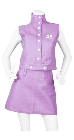 Iconic Logo Mauve Vinyl Skirt Suit