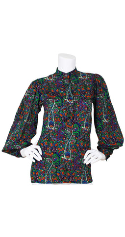 c.1976 Russian Collection Paisley Wool Blouse