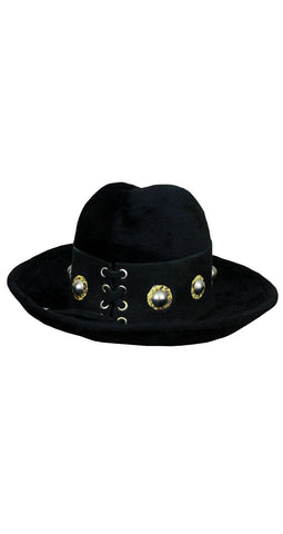 c.1970 Snakeskin Studded Black Fur Hat