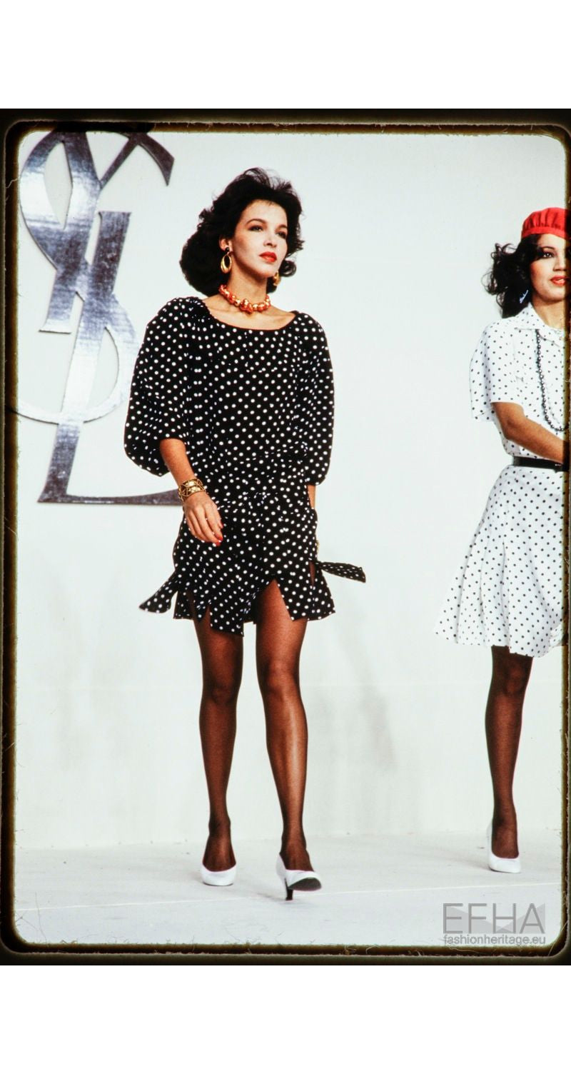 1981 S/S Runway Black & White Polka-Dot Carwash Dress