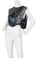 1920s Large Black Paillette Sequin Silk Chiffon Evening Top