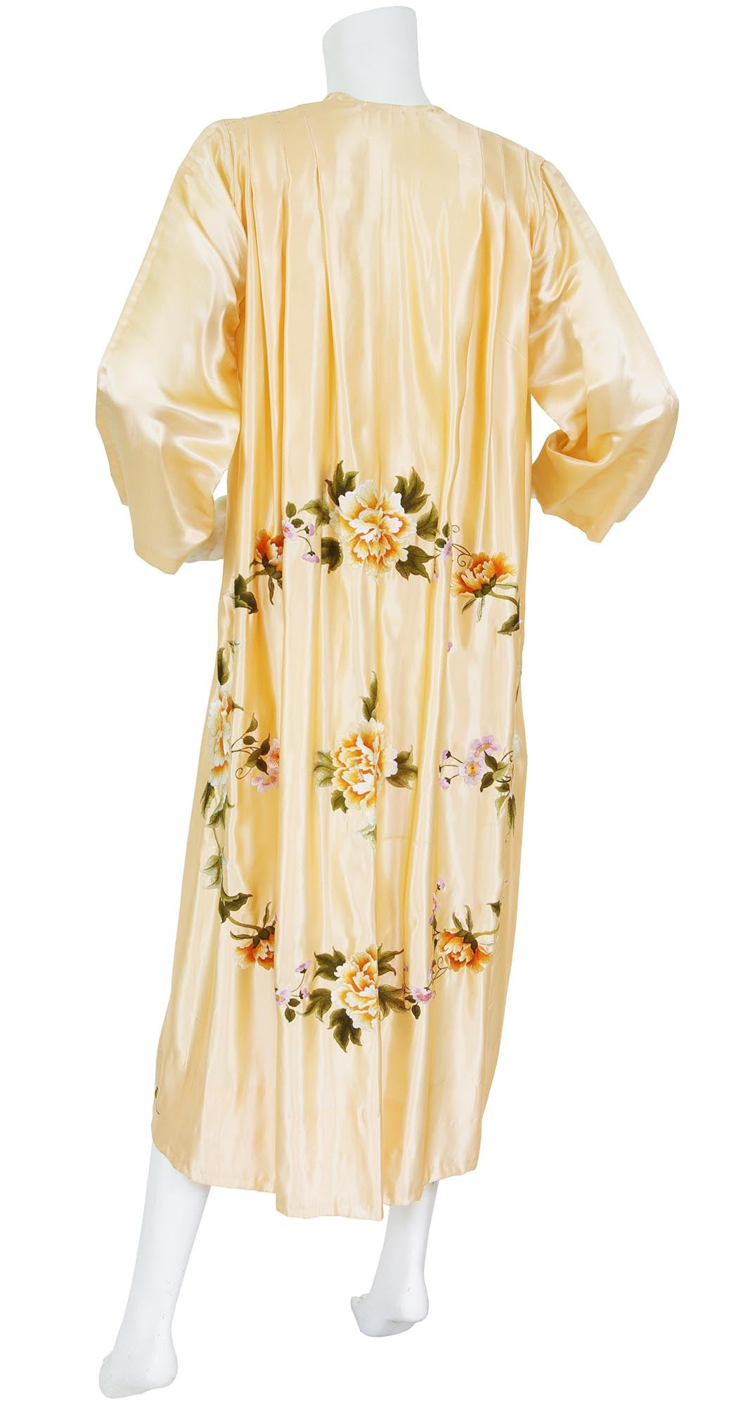 Stunning Hand Embroidered Floral Peach Silk Robe