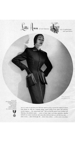 1951 Ad Campaign Navy Wool Gabardine Tailored Jacket