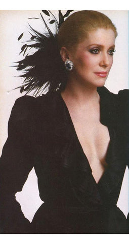 1986 Documented Black Velvet & Satin Ruffle Evening Dress