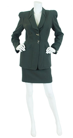 1990s Shooting Star Olive Wool Skirt Suit