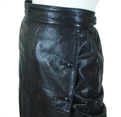 1980's Black Leather Cowhide Wrap Skirt
