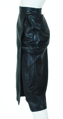 1980s Black Leather Cowhide Wrap Skirt