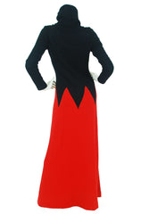 Black & Red Zig-Zag Knit Maxi Dress