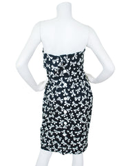 1987 S/S Documented Bow Print Black & White Cotton Strapless Dress