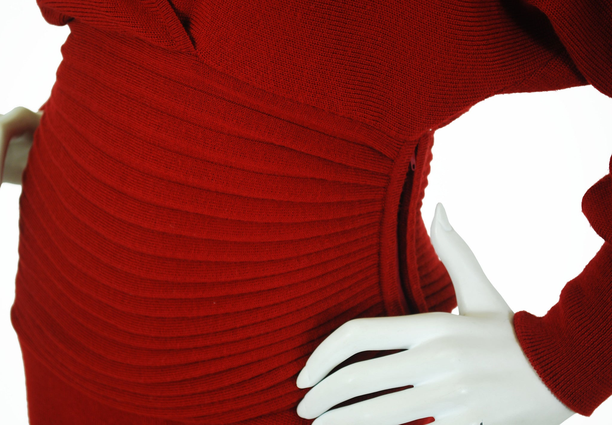 1980s Couture Numbered Red Wool Dress